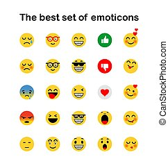 ensemble, emoticons., emoji., isolé, icons., vecteur, illustration, fond, sourire, blanc
