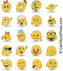 ensemble, emoticons., emoji., isolé, icons., vecteur, illustration, sourire