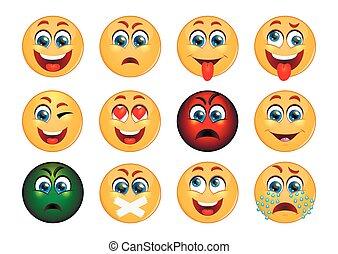 ensemble, emoticons., emoji.
