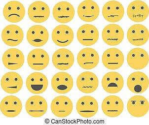 ensemble, emoticons, isolé, fond, blanc, emoji