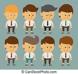 ensemble, employé bureau, caractères, homme affaires, poses