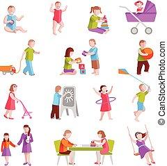 ensemble, enfants, caractères