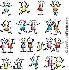 ensemble, enfants, collection, figure, crosse