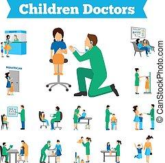 ensemble, enfants, docteur