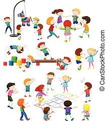 ensemble, enfants jouer