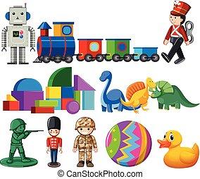 ensemble, enfants, jouets