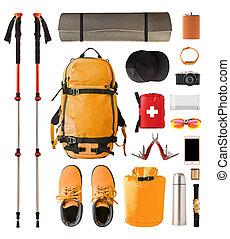 ensemble, engrenage, equipement randonée, trekking., sport
