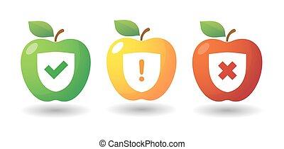 ensemble, enquête, pomme, icône, icônes
