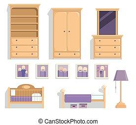 ensemble, entiers, couleur, s, vecteur, chambre à coucher, enfants, meubles
