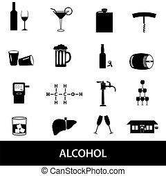 ensemble, eps10, alcool, icônes