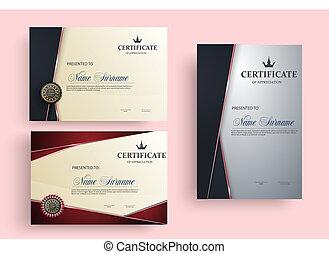 ensemble, eps10, certificat, illustration, vecteur, template.