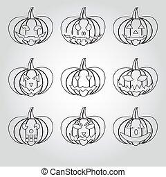 ensemble, eps10, contour, icônes, halloween, potirons,...