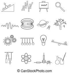 ensemble, eps10, contour, icônes, simple, vecteur, physique