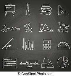 ensemble, eps10, contour, icônes, tableau noir, mathématiques