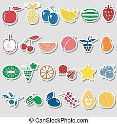 ensemble, eps10, icônes, couleur, simple, thème, fruit, autocollants