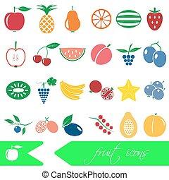 ensemble, eps10, icônes, couleur, simple, thème, fruit