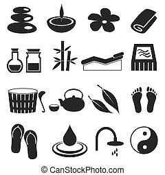 ensemble, eps10, icônes, simple, noir, relaxation, spa