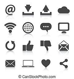 ensemble, eps10, icons., vecteur, illustration, internet