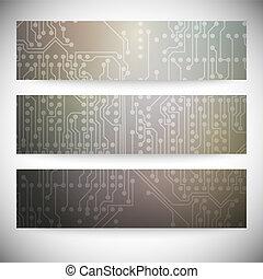 ensemble, eps10, illustration, banners., vecteur, arrière-plans, circuit, horizontal, puce, électronique