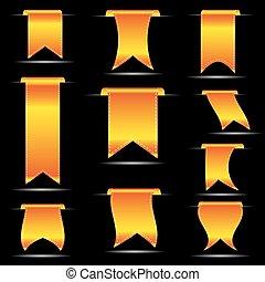 ensemble, eps10, jaune, pendre, courbé, bannières, ruban