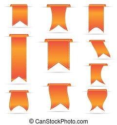ensemble, eps10, pendre, orange, courbé, bannières, ruban