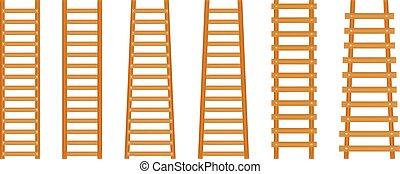 ensemble, escalier, classique, bois, ladder., étape