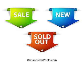 ensemble, eshop, nouveau, étiquettes, articles, vendu, vente, dehors