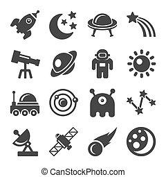 ensemble, espace, icône