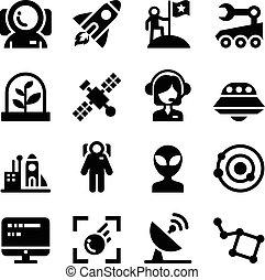 ensemble, espace, icônes