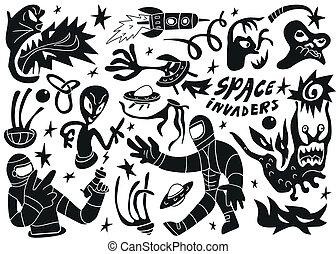 ensemble, espace, -, invaders, 2, doodles, partie