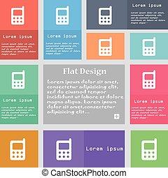 ensemble, espace, mobile, signe., text., multicolore, boutons, téléphone, vecteur, icône
