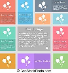 ensemble, espace, signe., text., multicolore, boutons, vecteur, ballons, icône