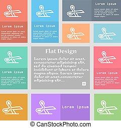 ensemble, espace, signe., text., multicolore, boutons, vecteur, ciseaux, icône