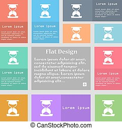 ensemble, espace, signe., text., multicolore, boutons, vecteur, icône, sablier