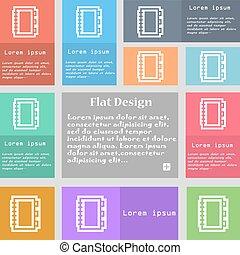 ensemble, espace, signe., text., multicolore, boutons, vecteur, livre, icône