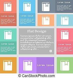 ensemble, espace, signet, signe., text., multicolore, boutons, vecteur, livre, icône