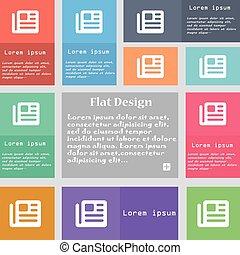 ensemble, espace, text., signe., livre, multicolore, boutons, vecteur, journal, icône