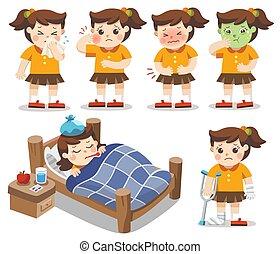 ensemble, estomac, obtenir, temperature., illustration, sick., élevé, vecteur, elle, douleur, girl, a, toothache.