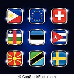 ensemble, estonie, (eu), frontière, scintillement, union, république, européen, cuba, verre, drapeau, (philippines, mondiale, acier, central, bouton, quadrangulaire, macédoine, ), suède, africaine, suisse, tanzanie