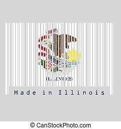 ensemble, etats, illinois, couleur, fait, barcode, blanc, cachet, text:, america., fond, illinois., drapeau