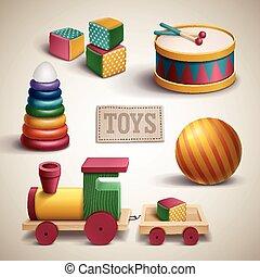 ensemble, exquis, coloré, jouets
