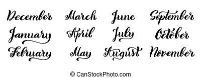 ensemble, février, novembre, janvier, octobre, septembre, juin, juillet, year., décembre, avril, mois, août, calligraphic, mai, mars