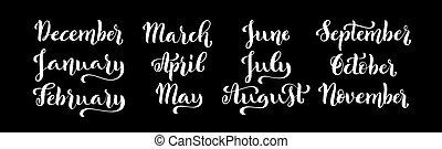 ensemble, février, octobre, septembre, juin, juillet, year., décembre, avril, mois, août, calligraphic, mai, mars