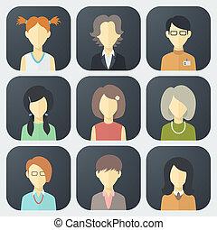 ensemble, faces, femme, icônes