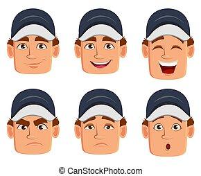 ensemble, facial, auto, divers, mécanicien, professionnel, expressions, uniforme