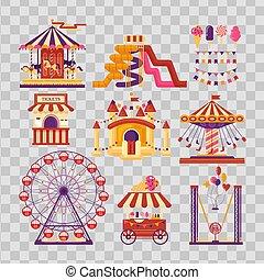 ensemble, famille, attractions, gonflable, banners., cartes, amusement, roue, ferris, arrière-plan., ballons, carrousels, catapulte, plat, éléments, kiosque, trampoline, parc, drapeaux, transparent, château, invitational, mobile, bonbons, waterslides