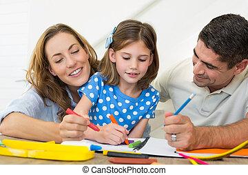 ensemble, famille, coloration