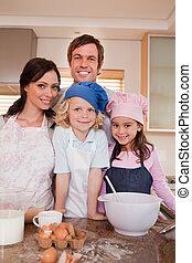 ensemble, famille, cuisson, portrait