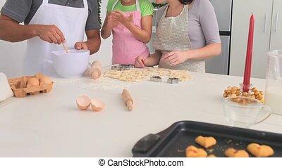 ensemble, famille, cuisson