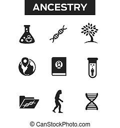 ensemble, famille, généalogie, vases bec, arbre, ou, etc, ...